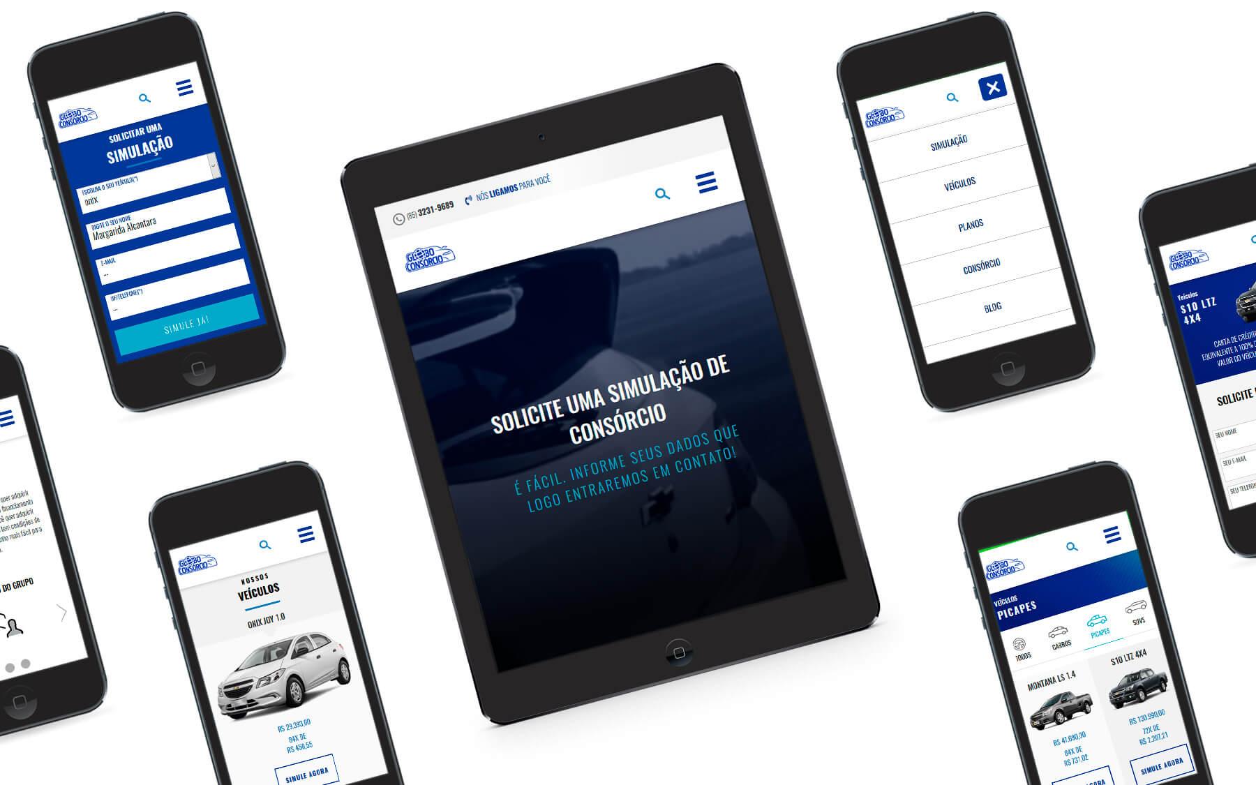 Portfólio: E-commerce Mobile Globo Consórcio - Consórcio Chevrolet - I9ME Web & Design